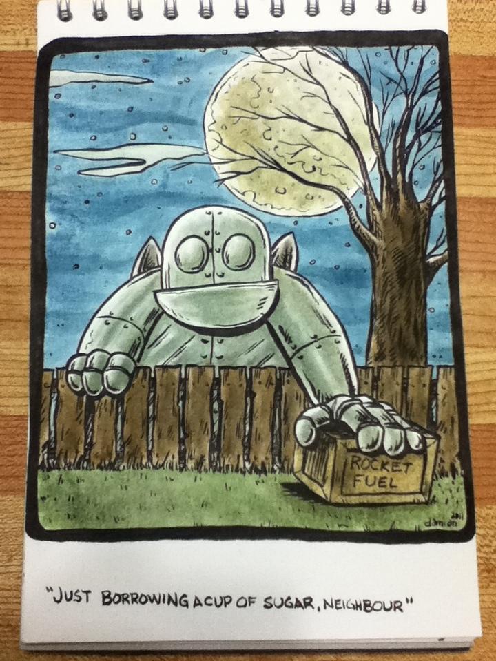 "Just borrowing a cup of sugar, neighbour"" (watercolour) | dorkboy comics"
